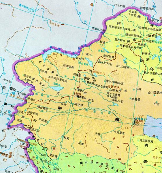 其骧《中国历史地图集》,道光25年(1820年)清时期全图西北部分